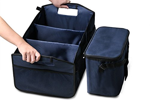 MoKo 2 in 1 Collapsible Car Trunk Organizer & Cooler Bag, Foldable Travel Storage Container, Sturdy Clutter Control for Car, SUV, Truck, Van, Home, Groceries (Indigo)