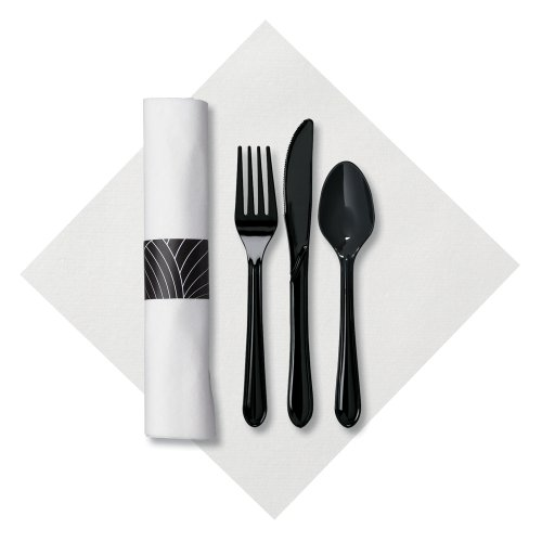 Hoffmaster 119990 Linen-Like CaterWrap Pre-rolled Dinner Napkin and Heavyweight Cutlery, Mystic, White/Black (Case of 200) (Rolled Pre Black Cutlery)