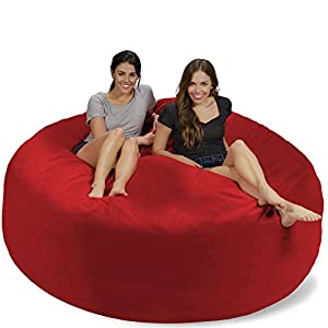 Chill Sack Bean Bag Chair: Giant 7' Memory Foam Furniture Bean Bag - Big Sofa with Soft Micro Fiber Cover - Red Pebble