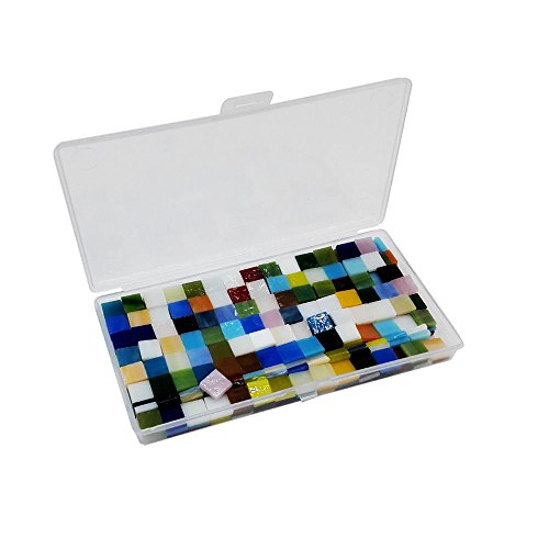 Qorol DIY Crafts Mixed Colors Mosaic Tiles Glitter Glass Mosaics with Plastic Box for Home Decoration 250g / 280 pieces