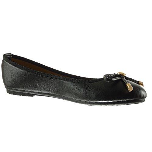 Angkorly - Zapatillas de Moda Bailarinas slip-on mujer nodo metálico Talón tacón plano 1 CM - Negro
