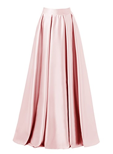 Full Skirt Pleats Skirt - emondora Women High Waist Elastic Satin Flared Swing Maxi Skirt Pleat Prom Gown Pink Size M
