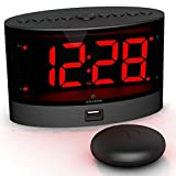 ANJANK Loud Alarm Clock with Wireless Bed Shaker, Powerful Vibrating Alarm Clock for Heavy Sleepers and Hard of Hearing, Large Number Display with Dimmer, Dual Alarm & USB Charger Port for Bedroom