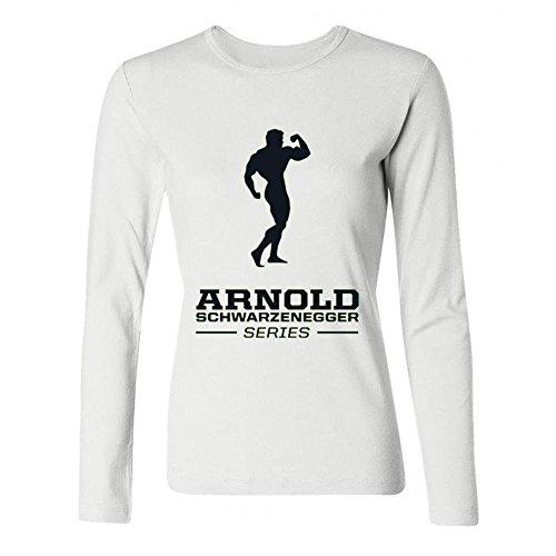 AVERBILY Women's Arnold Schwarzenegger Long Sleeve T-shirt White XXL (Schwarzenegger Xxl)