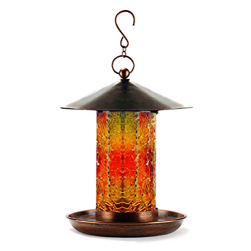 WDS Premium Handcrafted Mosaic Glass Bird Feeder - Solar Powered = Glows at Night - Waterproof Garden Birdfeeder for Outside - Updated Design DEC 2018 = Easier Fill & Assembly - Hook Hanger Included