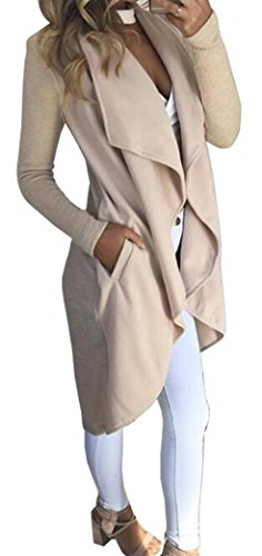 Suelto Outwear Trench Cardigan Mujer Yeesea Coat Abrigo Chaqueta Elegante Albaricoque Jacket awtx8Rq
