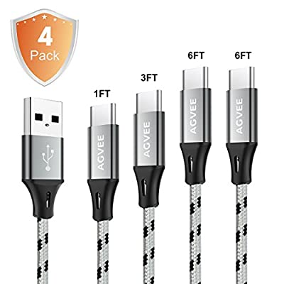 Cruel 3A Current Heavy Duty, Seamless Type C End Tip, Agvee 4Pack 1FT 3FT 6FT 6FT USB C Cables Set Nylon Braided Ultra Long Data Sync Charger Cord for Android Samsung Galaxy LG Sony (Black in Gray)