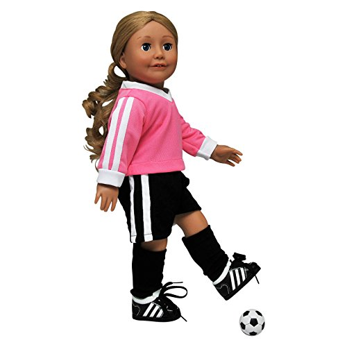 The Queen's Treasures Complete 18 Inch Doll Soccer Outfit, Black Shorts, Pink Jersey Shirt, Black Socks,Soccer Shoes. Fits American Girl Dolls (Best American Football Boots)