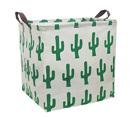 ESSME Square Storage Bin,Cotton Fabric Laundry Baskets,Collapsible Waterproof Toy Storage Bin with Handles for Family Storage,Shelf Baskets 13×13 inches (Cactus)