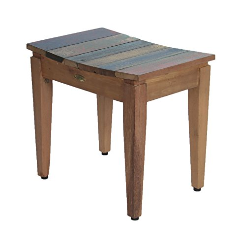 Recycled Salvaged Reclaimed Boat Wood Indoor Outdoor Bench 20″- Sojourn Style Stool