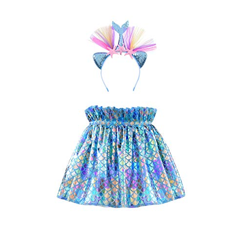 Girl Tutu Skirt Mermaid Blue Ballet Tulle Skirt with Headband Size 3-12