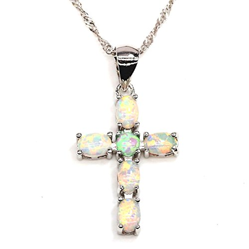 Genuine 2.73 Carat Oval Shaped Natural Opal 925 Sterling Silver Cross Pendant (Opal Oval Cross)