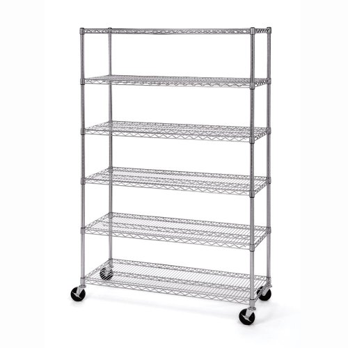 Seville Classics UltraDurable Commercial-Grade 6-Tier NSF-Certified Steel Wire Shelving with Wheels, 48