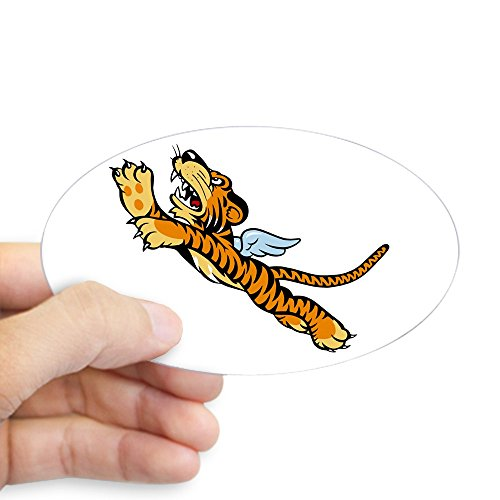 CafePress The Flying Tiger Sticker Oval Bumper Sticker, Euro Oval Car Decal ()