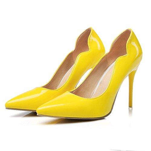 CSDM Donne Scarpe da sposa Stiletto Heel Patent Leather Punta punta Pattinaggio Bocca Shallow Big Size Albicocca Giallo Bianco Rosso , yellow , 45 custom 2-4 days do not return