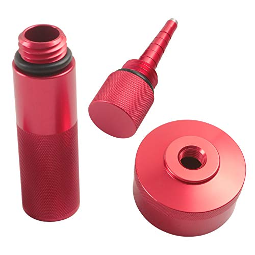 Aluminum Extended Run Gas Cap Adapter, Mess Free Oil Changes Funnel, Magnetic Tip Dipstick Oil Dip Stick Fit for Honda Generator EU2000i EU1000i EU3000i (Red)