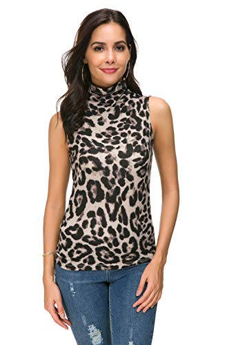 Nasperee Women Sleeveless High Mock Turtleneck Knit Pullover Sweater Shirt Plain Slim Fit Tank Tops Leopard Brown