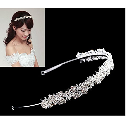 Wedding Bridal Rhinestone Flower Leaves Headband Tiara Headdress Silver
