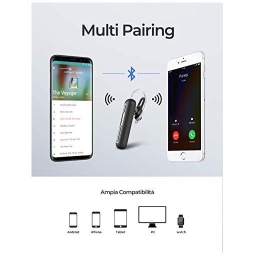Mpow Auricolare Bluetooth 4.2 con CVC 6.0 Cancellazione del Rumore e Doppio Microfono, Auricolare Wireless Senza Fili da 15 Ore di Riproduzione e 240 Ore di Standby, Auricolare Wireless Smart Phone