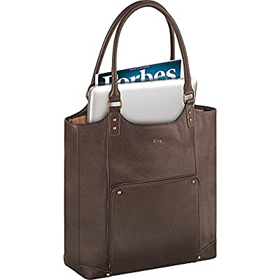 "Solo Premium Leather/Poly 16"" Laptop Bucket Tote, Espresso, VTA804-3"