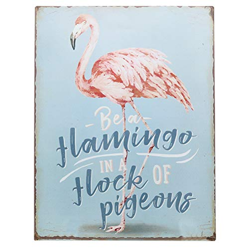 "Barnyard Designs Be A Flamingo in A Flock of Pigeons Wall Art Retro Vintage Tin Bar Sign Country Home Decor 13"" x -"