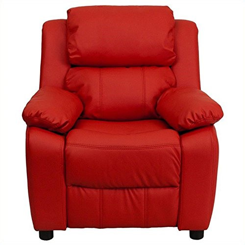 Flash Furniture Deluxe Padded Contemporary Red Vinyl Kids Recliner with Storage (Red Childrens Furniture)