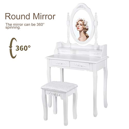Vanity Set,Lucoo Makeup Table with Oval Mirror,Wood Makeup Table with 4 Drawer Storage,Bedroom Dressing Table with Stool for Girls Women(US Store) (White, 75x40x138cm/29.5''L x 15.75''W x 54.3''H)