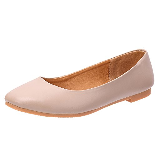 321d4e536fb8 ALEADER Women s Leather Classic Comfort Ballerina Walking Flats Shoes-Size  Updated