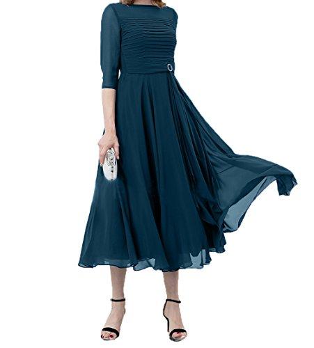 Kleider Blau Partykleider Brautmutterkleider Kurzes Abendkleider Damen Chiffon A linie Charmant Jugendweihe Wadenlang Tinte wSUqxCZ
