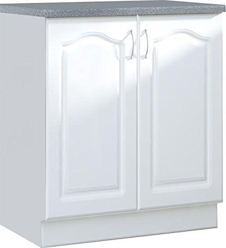 Meuble Bas De Cuisine Style Contemporain 80 Cm Avec 2 Portes Coloris Blanc Amazon Fr Cuisine Maison