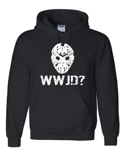 XXX-Large Black Adult WWJD What Would Jason Do? Funny Horror Movie Hooded Sweatshirt Hoodie (Jason Voorhees Clothes)