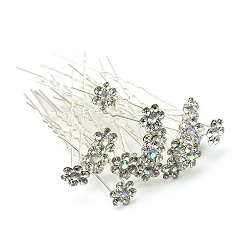 Tinksky Crystal Rhinestones U Shaped Hairpins