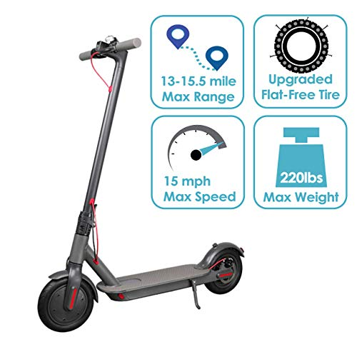 "Best Gadget Supply Portable Commuting Electric Scooter- 15.5 Mile Max Long-Range Battery, 15 Mph max Speed, 8.5"" Flat Free tire, Headlight, Brake Light, (USA Version)"