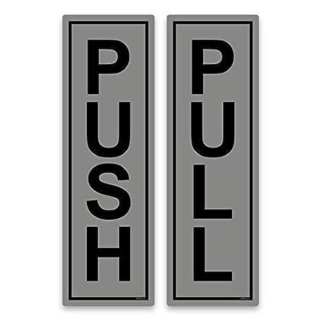 Empujar y tirar pegatinas con señales para puerta de 190 x 60 mm, vinilo autoadhesivo, Plateado, 1 set