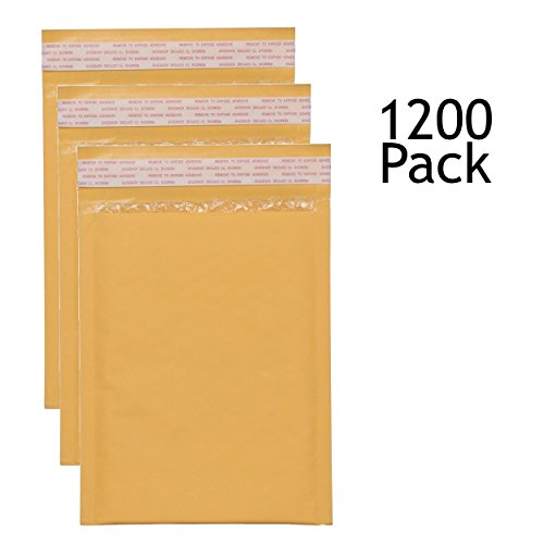 SVI Sales 7.25'' x 12'' Padded Self Seal Bubble Lined Gold Mailers Ship with UPS, USPS, FedEx and More, Pack of 1200 Gold Colored Bubble Mailers by SVI Sales
