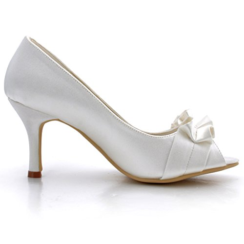 ElegantPark EP2108 Mujer Peep Toe Zapatillas Volantes El Tacón Alto Satén Boda Novia Zapatos de Fiesta Ivoire