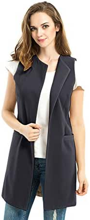 Biovan Women's Wool Blend Sleeveless Long Vest Jacket Longline Slim Waistcoat