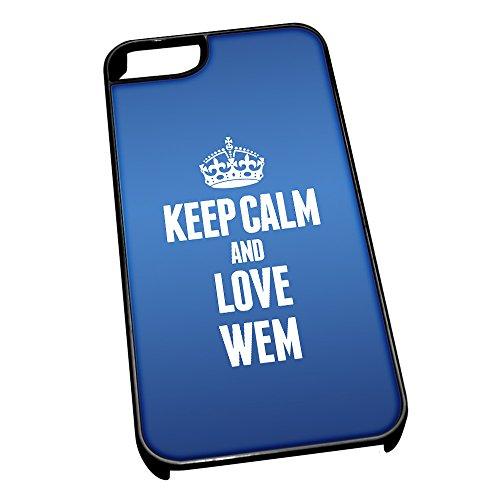 Nero cover per iPhone 5/5S, blu 0695Keep Calm and Love wem