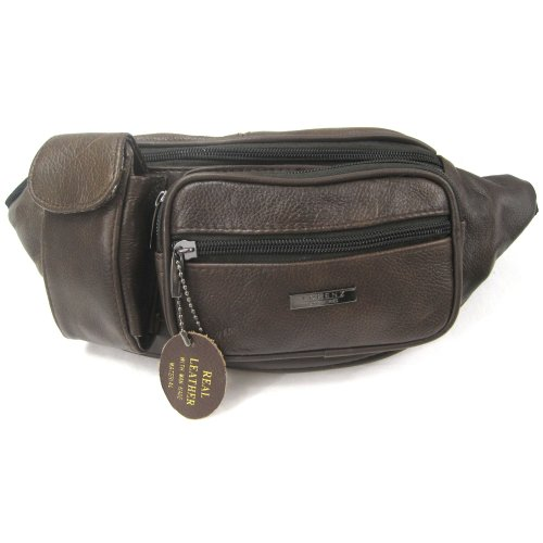 Brown Bum Leather And Phone Real Pockets Pouch Mobile Dark With Bag Zipped gqxPwRBP