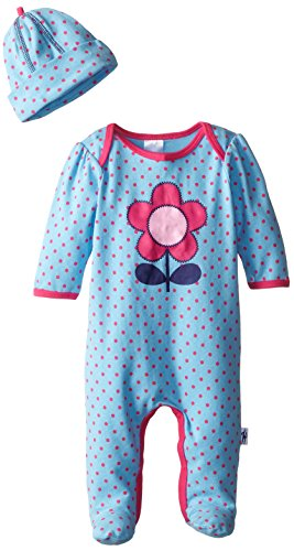 Jockey Newborn Baby Girl Footed Polka Dot Coverall and Hat Set, Blue, 9 Months
