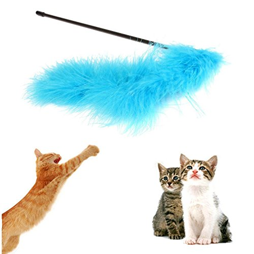 1pc Catcher Teaser Toy For Pet Feather Wand Stick For Cat Kitten Jumping Train Aid Fun (Random Color)