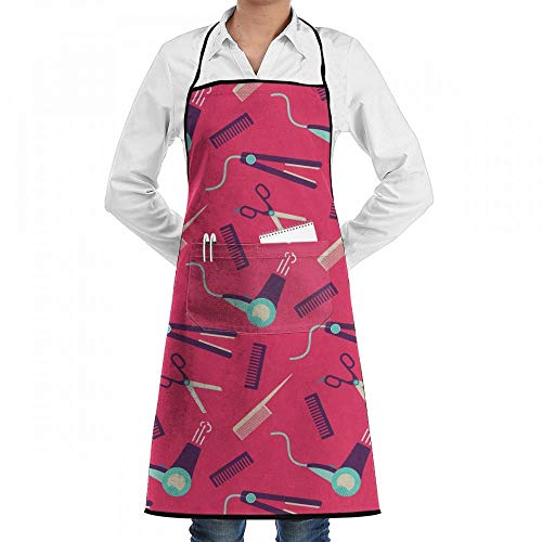 Mcdorty Cute Pink Witth Hairdressing Equipment Chef Kitchen Cooking Aprons BBQ Bib Apron with Pockets for Women Men
