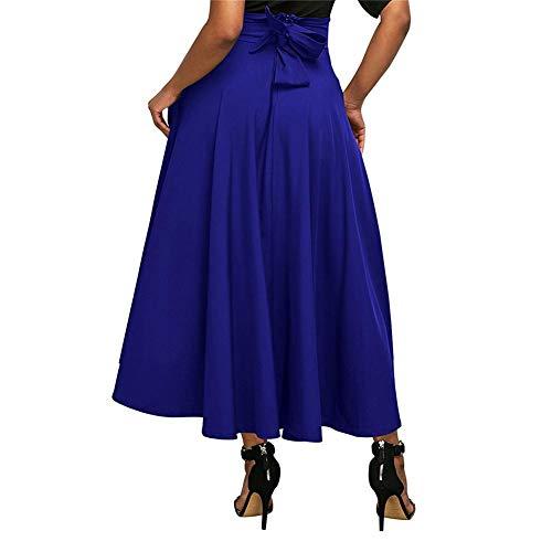 wangwtry Jupe Femme Jupe plisse Taille Haute Poche Ceinture Fendue sur Le c?t Rtro Jupe vase surleve Bleu