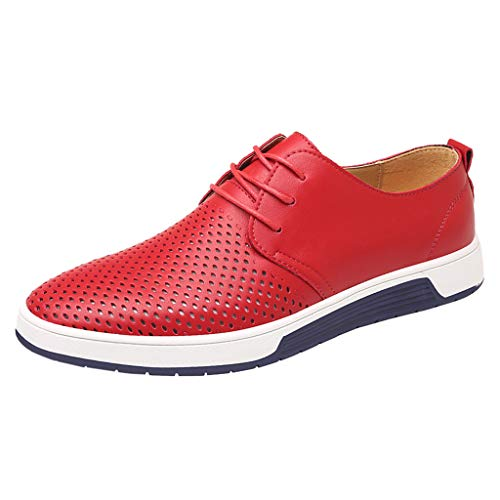 Gabbana Gold Leather - COPPEN Men Leather Shoes Fashion Breathable Casual Round Toe Lace-Up Male Shoe Red