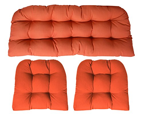 Piece Settee 2 (Sunbrella Canvas Melon Orange 3 Piece Wicker Cushion Set - Indoor / Outdoor Wicker Loveseat Settee & 2 Matching Chair Cushions)