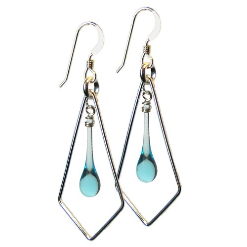 - Light Blue Glass Droplet and Sterling Silver Kite-Shaped Earrings, recycled from gin bottles