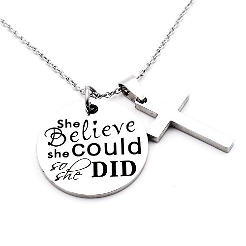 N.egret Necklace Chain Cross Pendant Inspirational Jewelry Quotes Gift for Girl Teen Daughter men Birthday