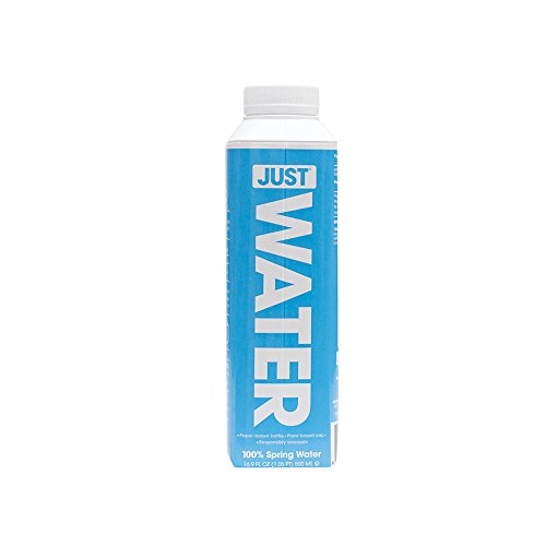 JUST Water, 100% Premium Spring Water in a Paper-Based Recyclable Bottle, Naturally High 8.0 pH and BPA Free, 16.9 Oz (Pack of 12)