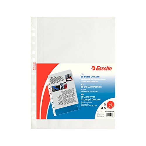 Esselte Perforated Envelopes, Copy Safe de Luxe, Transparent, Document Holder A4 PP antiriflesso