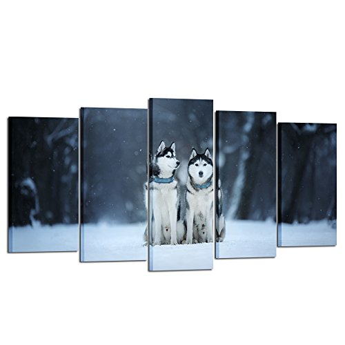 Kreative Arts - Large Canvas Wall Art Prints Two Dogs Siberian Husky Sit Outdoors Animal 5 Pieces Large Framed Canvas Art Picture Artwork for Home Office Decoration